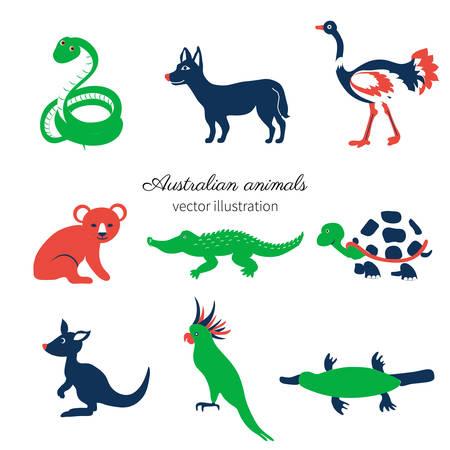 Australian wild animals, colorful vector cartoon illustration, decorative mammal set koala bear, kakadu, green snake, kangaroo, dog dingo, crocodile, for design zoo alphabet, invitation, greeting card Illustration