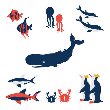 Australian marine wild animals, vector cartoon illustration fish, blue whale, octopus, red crab, shark, dolphin, colorful penguin isolated on white, decorative cute set for design zoo, sea pattern Illustration