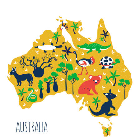 Australia cartoon travel map, vector colorful illustration, wild australian animals and trees, decorative symbols flat style isolated on white background, for design zoo alphabet, cute baby poster