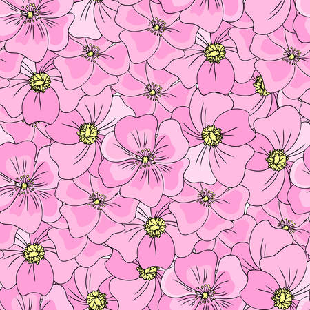 Seamless floral pattern Wild rose, briar, hand drawn blossom dogrose, vector illustration, pink background, decorative texture rosehip for design cosmetic, herbal tea, organic food, colorful textile