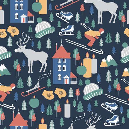 Finland travel cartoon vector seamless pattern, Finnish landmark Moomin House in Park Moomin world, Oulu, animals, flat building illustration, decorative winter scandinavian background for design Archivio Fotografico