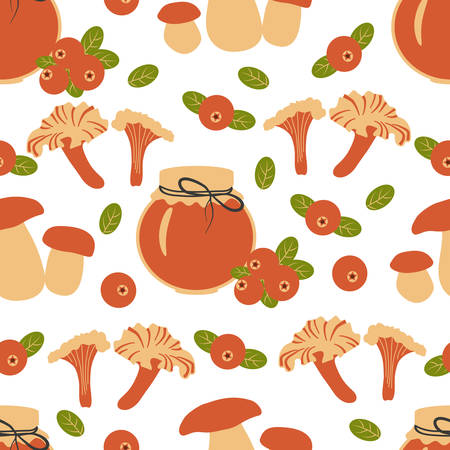 Seamless pattern, Swedish vector traditional food, colorful sweets, cranberry jam, mushrooms isolated on white background, decorative flat style texture for design wallpaper, textile, restaurant menu Illustration