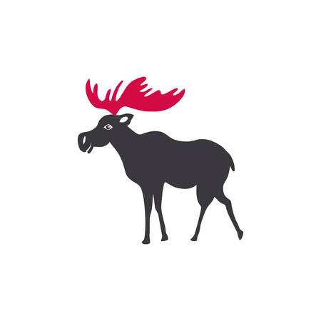 Elk vector cartoon illustration isolated on white background, Simple flat symbol, Moose silhouette icon, decorative mammal sign for design zoo alphabet, travel advertising, protection of animal