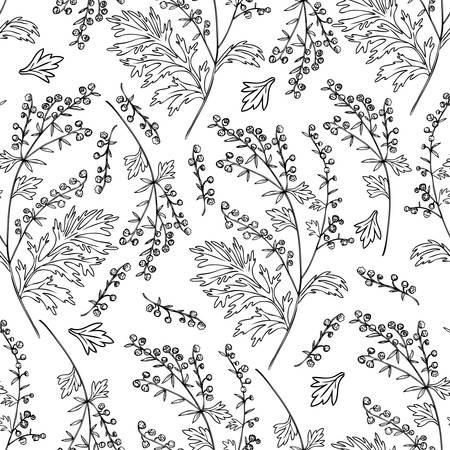 Patrón de vector floral transparente Artemisia vulgaris, ajenjo común dibujado a mano tinta dibujo ilustración aislado sobre fondo blanco, también llamado absinthium, planta de absenta para diseño cosmético, textil