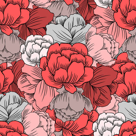 Seamless floral pattern red Ranunculus, Trollius asiaticus flower, Globeflower hand drawn vector rose backdrop, Kupavka plant for design package, medicine, wedding invitation, greeting card, wallpaper