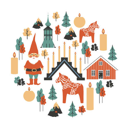 Traditionelle schwedische Vektorsymbole, Tomtar-Elfe, Dalecarlica-Pferd, Dalarna-Pferd, rotes Haus, Kerzen, Kerzenhalter, Glockenturm der Kirche, Kiruna, lokalisiert auf weißer, dekorativer runder Rahmenreise flach