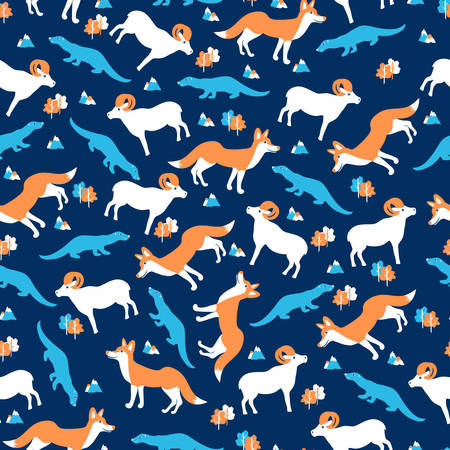 Seamless wild animal pattern, cartoon vector illustration, colorful fox, ram, sable isolated on blue backdrop, decorative texture with forest, for design wallpaper, textile, greeting card, invitation