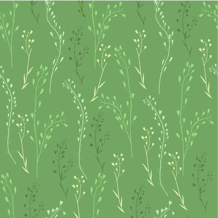 Seamless floral pattern, Capsella flower, Shepherd's purse, Capsella bursa-pastoris, the entire plant, hand drawn vector sketch grass isolated on green background for design cosmetic, natural textile Illustration