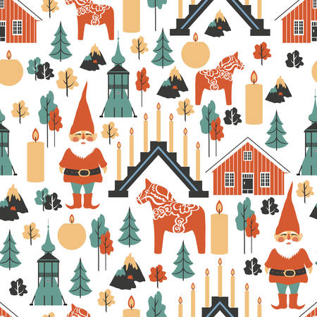 Swedish vector seamless pattern Tomtar elf, Dalecarlica horse, Dalarna horse, red house, candles, candlestick, Bell Tower of Church, Kiruna, isolated on white background, decorative texture flat style Illustration