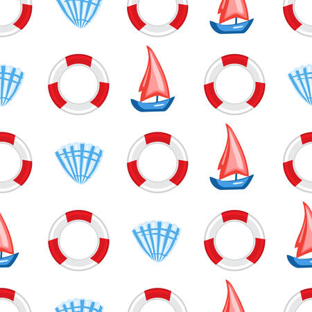 Marine seamless vector pattern cartoon lifeline, seashell, sailboat cute illustration isolated on white background, summer decorative texture, design wallpaper, sea backdrop, textile, wrapping paper