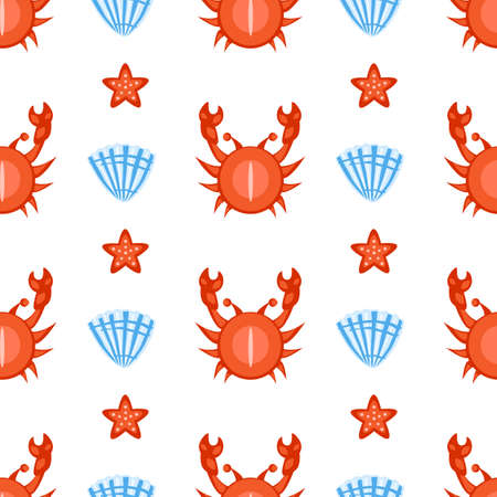 Marine seamless vector pattern cartoon swimming crab, seashell, starfish illustration isolated on white background, summer decorative texture, design wallpaper, sea backdrop, textile, wrapping paper