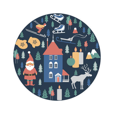 Finland travel cartoon vector round frame, Finnish landmark, Moomin House in Park Moomin world, Oulu, Santa Claus, deer, flat illustration symbol, decorative winter scandinavian background for design