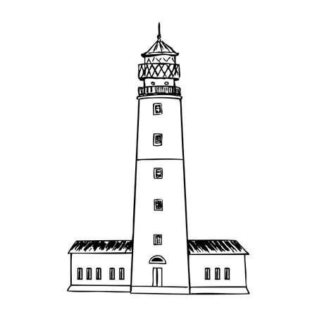 Baltiysk Lighthouse, Landmark Kaliningrad region, Russia, hand drawn ink vector illustration sketch, engraving tower of vintage style, decorative building for design touristic card, template houses