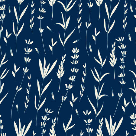 Lavender flower silhouoette isolated on dark blue background, colorful seamless vector floral pattern, hand drawn texture backdrop, for design wallpaper, decorative textile, packaging, wedding card