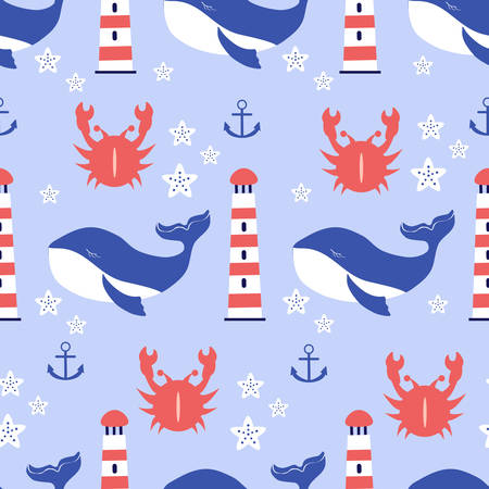 Seamless vector pattern sleep blue whale, starfish, lighthouse, crab cartoon illustration isolated on backdrop, wild animal texture,Character design for greeting card, children invite, baby shower Ilustrace