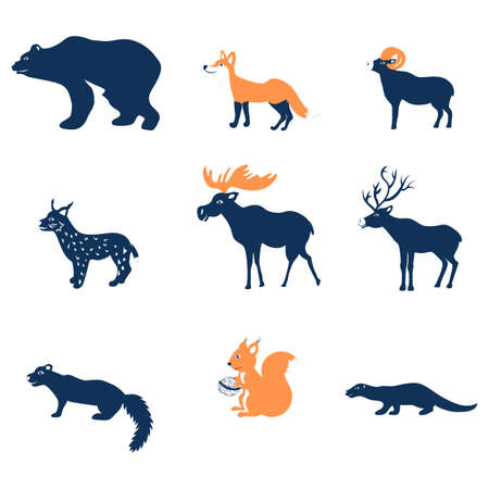 Cartoon forest vector animals. flat illustration, colorful fox, ram, sable, bear, cute elk, deer, lynx, squirrel, otter isolated on white backdrop, decorative symbols for design pattern, greeting card
