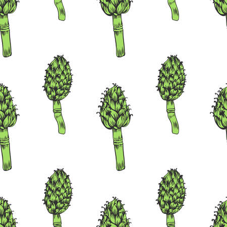 Seamless pattern Artichoke hand drawn vector sketch isolated on white background, herbal decorative plant, Organic food ingredient illustration, for design wallpaper, restaurant menu, cosmetics