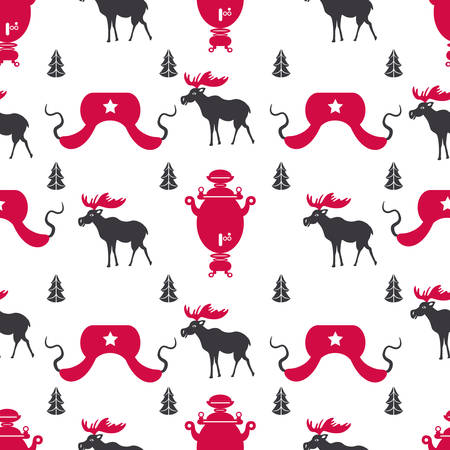 Russian cartoon vector symbols seamless pattern, Welcome to Russia, national famous items, travel sign samovar, elk, hat-earflaps decorative flat style for design wallpaper, textile, wrapping paper Ilustrace