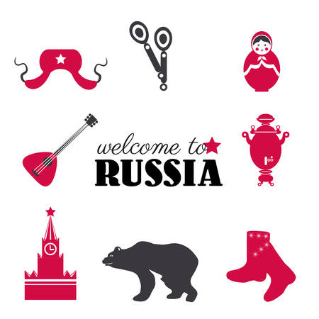 Russian symbols red samovar, hat-earflaps, balalaika, spoons, valenki, matryoshka vector illustration isolated on white backdrop, Kremlin, welcome to Russia tea time ultra-trendy sign travel flat icon