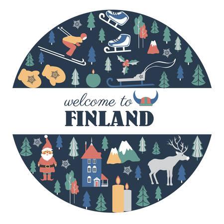 Finland travel cartoon vector round frame, Finnish landmark, Moomin House in Park Moomin world, Oulu, animals, flat building illustration, decorative winter scandinavian background for travel design