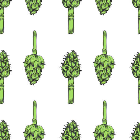Seamless pattern Artichoke hand drawn vector sketch isolated on white background, herbal decorative plant, Organic food ingredient illustration, for design wallpaper, restaurant menu, cosmetic