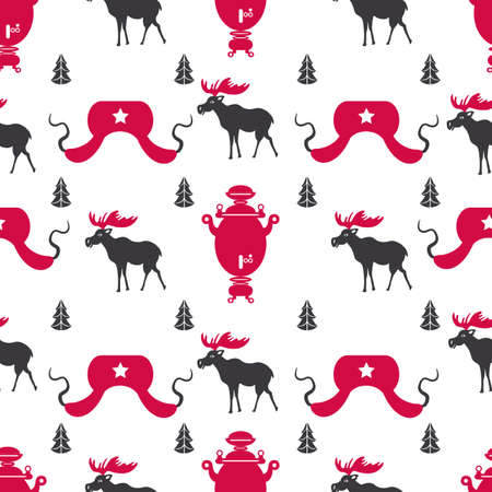 Russian cartoon vector symbols seamless pattern, Welcome to Russia, national famous items, travel sign samovar, elk, hat-earflaps decorative flat style for design wallpaper, textile, wrapping paper Reklamní fotografie