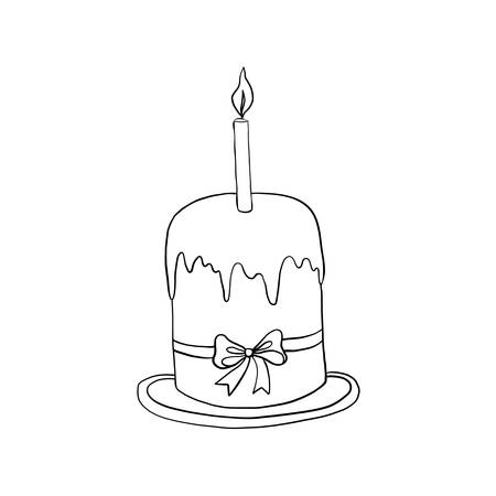 Hand drawn vintage of Happy Easter symbol, Paschal cake with candle on plate, vector ink sketch illustration isolated on white, decorative line art style for holiday design, greeting card, invitation