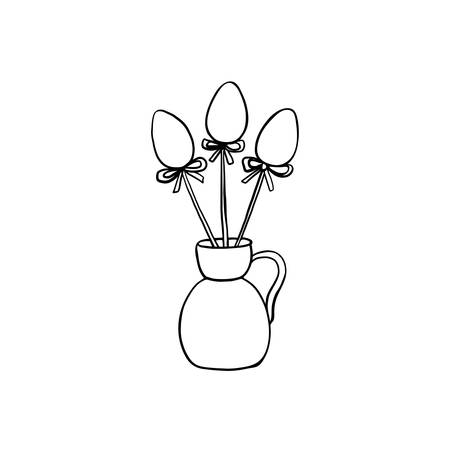 Hand drawn vintage of Happy Easter symbol, vector ink sketch illustration isolated on white, outline festive eggs with bow in vase, decorative spring bouquet line art style jug for holiday design