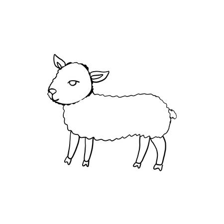 Hand drawn symbol of Happy Easter, vector ink sketch illustration isolated on white, Cute little lamb line art, cartoon sheep, cub ewe farm animal, Character design for baby shower, greeting cards Ilustrace