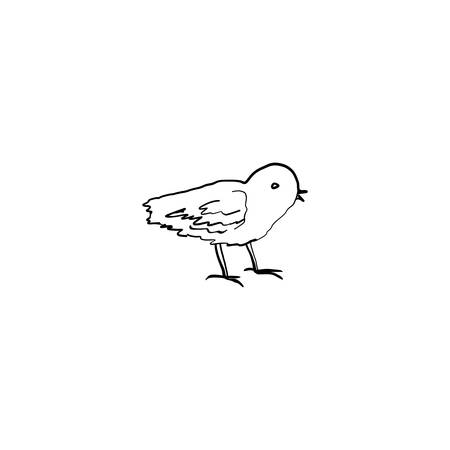 Cute little chick hand drawn vintage symbol of Happy Easter, vector ink sketch illustration isolated on white, line art cartoon cub bird farm animal, Character design for baby shower, greeting card