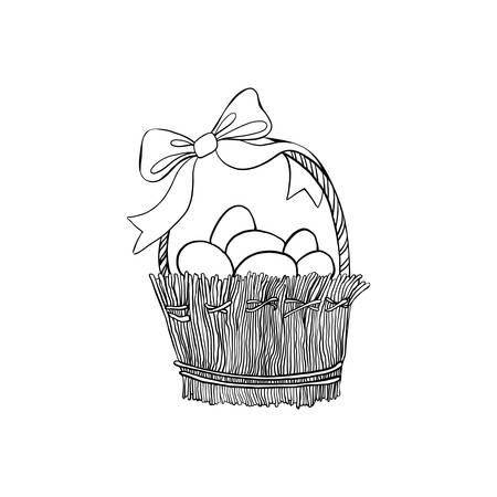 Hand drawn vintage of Happy Easter symbol set, vector ink sketch illustration isolated on white, festive eggs in wicker basket with bow, decorative element line art, for design greeting cards