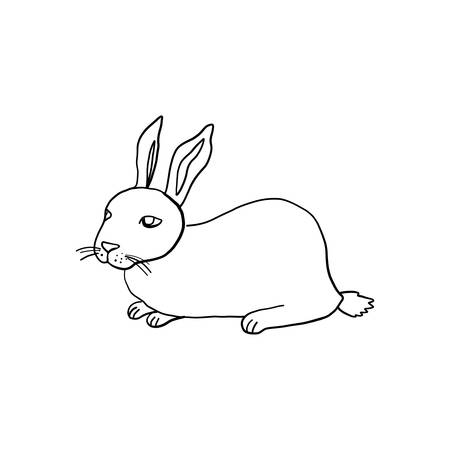 Hand drawn vintage of Happy Easter symbol, vector ink sketch illustration isolated on white, Cute rabbit line art cartoon hare, cub bunny farm animal, Character design for baby shower, greeting card