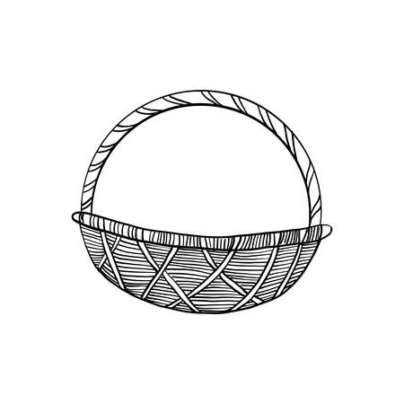 Decorative wicker basket hand drawn vintage symbol of Happy Easter, vector ink sketch illustration isolated on white, line art retro element for design scrapbook, greeting card, wedding invitation Ilustrace