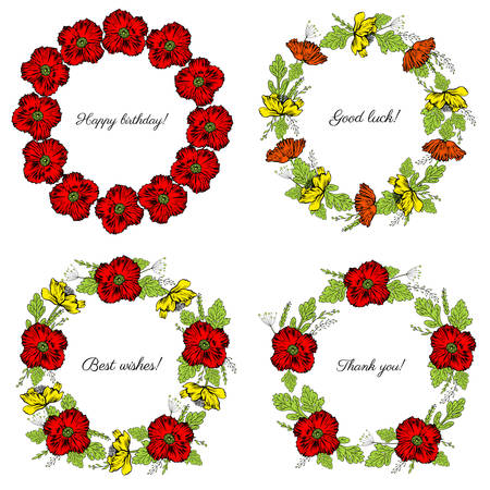 Set of round frame hand drawn vector sketch herbal colorful illustration, Red, yellow poppy flower, leaf floral wreath isolated on white background, design for greeting card, wedding invite, cosmetic