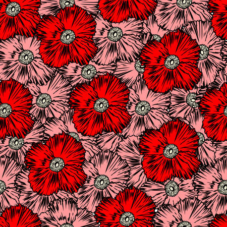 Seamless floral vector pattern, red Poppy flower hand drawn ink texture, colorful background, decorative backdrop for design greeting card, package cosmetic, wedding invitation, wallpaper, textile