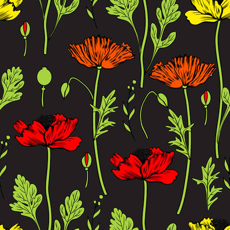 Seamless floral vector pattern, Poppy flower isolated on black background, hand drawn texture, colorful decorative backdrop for design greeting card, package cosmetic, wedding invitation, wallpaper