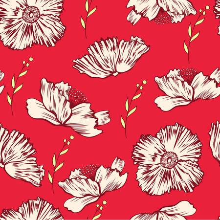 Seamless floral vector pattern, Poppy flower isolated on red background, hand drawn texture, colorful decorative backdrop for design greeting card, package cosmetic, wedding invitation, wallpaper
