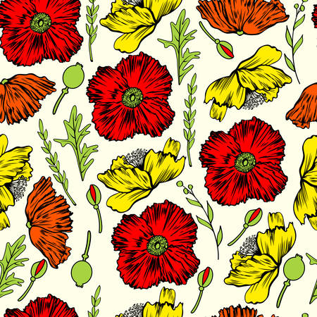 Seamless floral vector pattern, Poppy flower hand drawn isolated on light background, colorful backdrop, decorative texture for design greeting cards, package cosmetic, wedding invitation, wallpaper