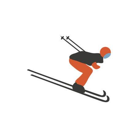 Cartoon skier isolated on white background, Mountain skiing colorful sportsman character, Young man on skis vector illustration flat style, decorative icon for design winter greeting card 向量圖像