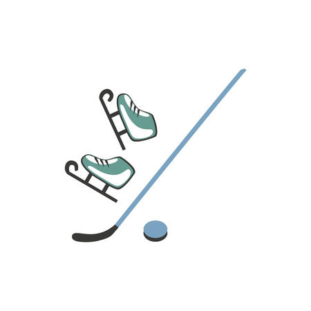 Ice figure skates, hockey puck and stick isolated on white background, vector decorative set flat style, Side view, cartoon colorful icon for design equipment, mobile concept and web apps