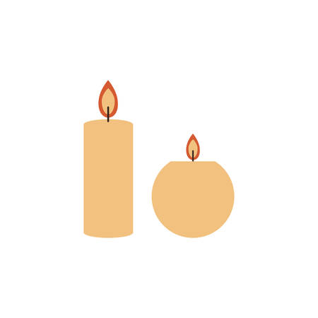Swedish vector traditional symbol, cylinder and round burning candles flame fire light sign isolated on white, flat cartoon style, decorative colorful icon for design greeting christmas card, invite Çizim