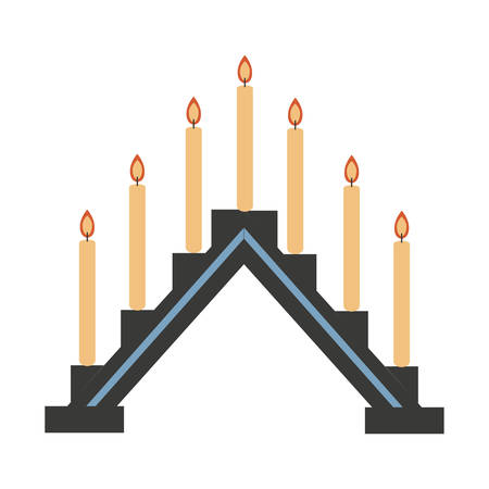 Swedish vector traditional symbol, burning candles on sconce, flame fire light, sign isolated on white, flat cartoon style chandelier, decorative colorful icon for design greeting christmas card Çizim
