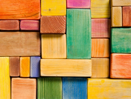 Wooden color toy blocks background Stock Photo - 19589472