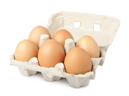 Egg packaging isolated on white background photo