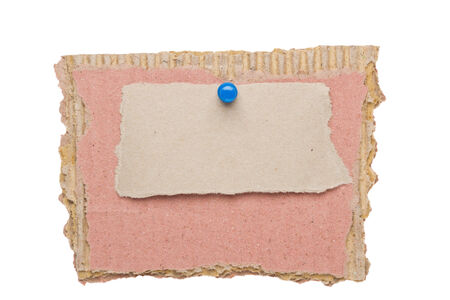 Cardboard paper label with clip isolated on white background photo