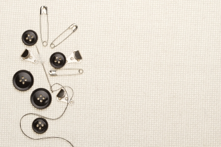 Sewing accessories on fabric photo