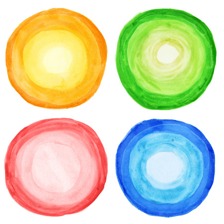 Watercolor hand painted circles, isolated