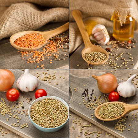 Green and red  lentils in wooden spoon on shoping board photo