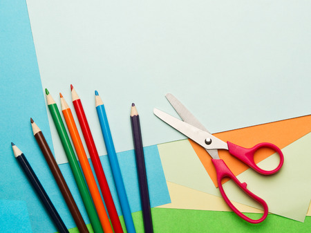 crayon  scissors: Color paper,scissors and color pencils