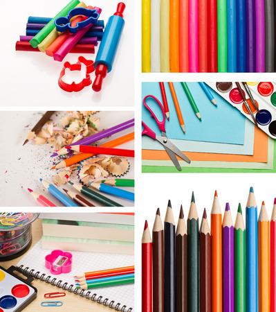 shool: Set of color pencils and shool supplies